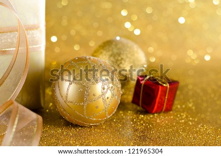 Golden Christmas decoration and bokeh background
