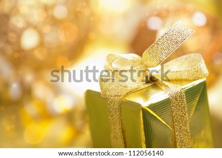 golden christmas gifts and decoration - stock photo