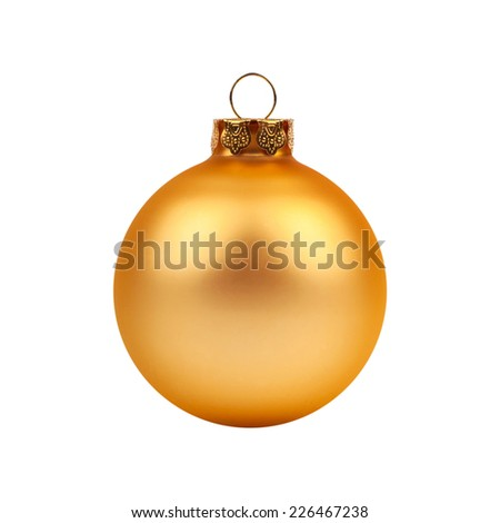 Golden Christmas, New year ball isolated on white background. - stock photo