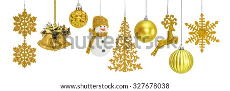 Golden Christmas New Year baubles for Christmas tree ornaments, pine, spruce, balls, snowflakes, bells, reindeer, snowman isolated on white - stock photo