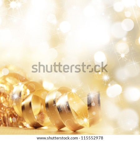 Golden christmas ribbon - stock photo