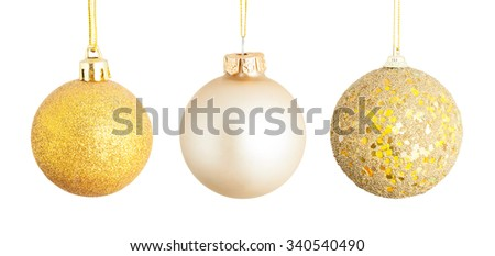 Golden Christmas spheres isolated on white background with clipping path - stock photo