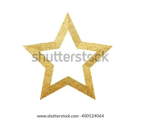 Golden Christmas star isolated on white background - stock photo
