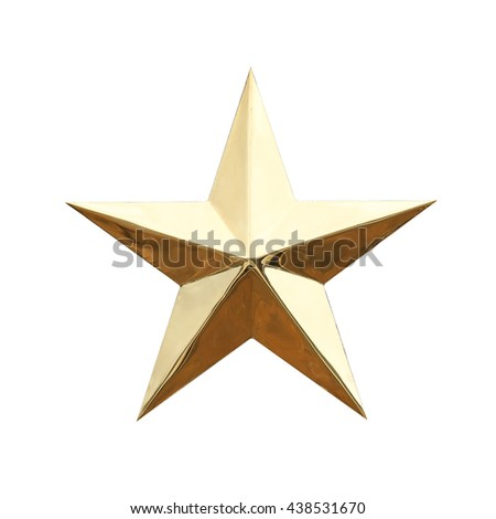 Golden Christmas Star isolated on white background,This has clipping path. - stock photo