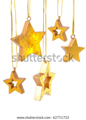 Golden Christmas stars - stock photo