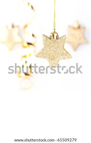 Golden christmas stars on the white background - stock photo