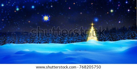 Golden Christmas tree and star sky.