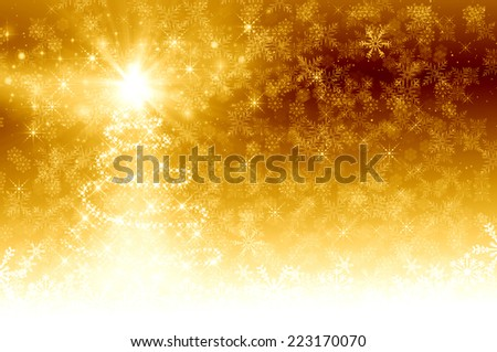 Golden Christmas Tree background - stock photo