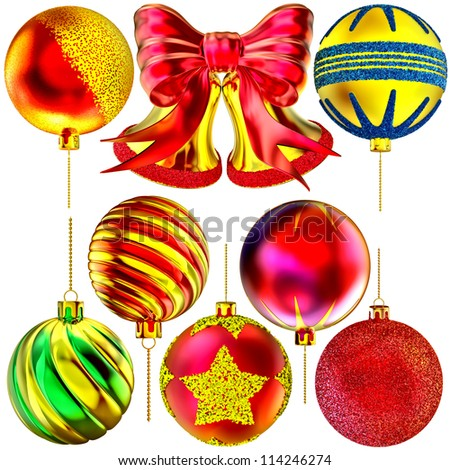 golden Christmas-tree bells with red bow and set of balls on white background - stock photo