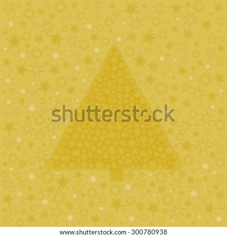 Golden Christmas tree built from circles with different stars in the background in a square format - stock photo