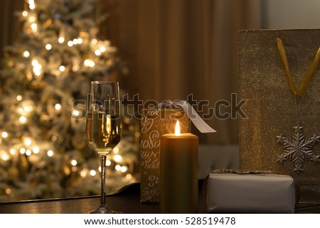 Golden christmas tree decoration. Holidays background. Golden style toned picture