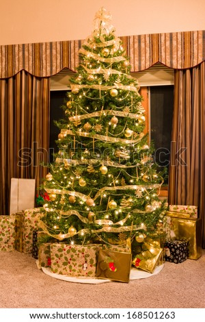 Golden Christmas Tree with Presents Under the Tree
