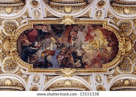 Golden Church Ceiling With Painting In Italy, Europe