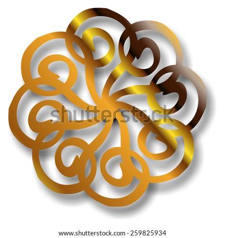 golden circular mandala form - stock photo
