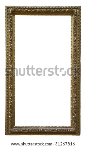 Golden classic picture frame - isolated on white background