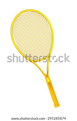 Golden Closeup Tennis Racket on a white background - stock photo