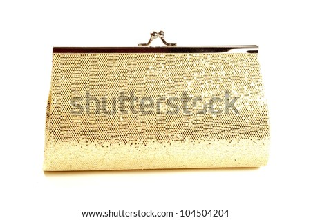 Golden clutch, closeup,  on a white background - stock photo