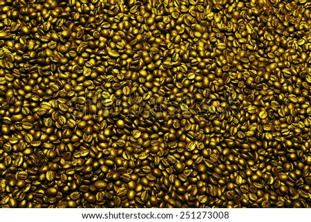 golden coffee beans - stock photo