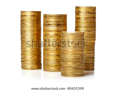 Golden  coin stacks isolated over white - stock photo