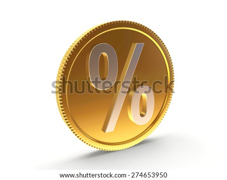 Golden coin with a silver percent sign isolated on white background - stock photo