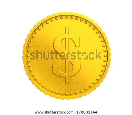 Golden coin with dollar sign on a white background