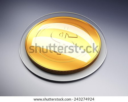 Golden coin with dollar sign on dark background. 3d render illustration - stock photo