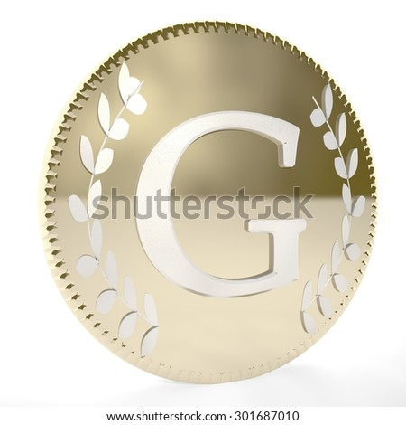 Golden coin with G letter and laurel leaves, white background, 3d render, square image - stock photo