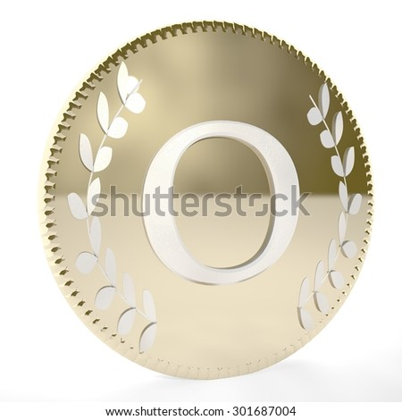 Golden coin with O letter and laurel leaves, white background, 3d render, square image - stock photo