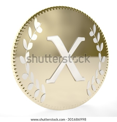 Golden coin with X letter and laurel leaves, white background, 3d render, square image - stock photo