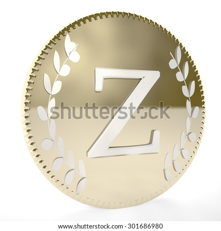 Golden coin with Z letter and laurel leaves, white background, 3d render, square image - stock photo