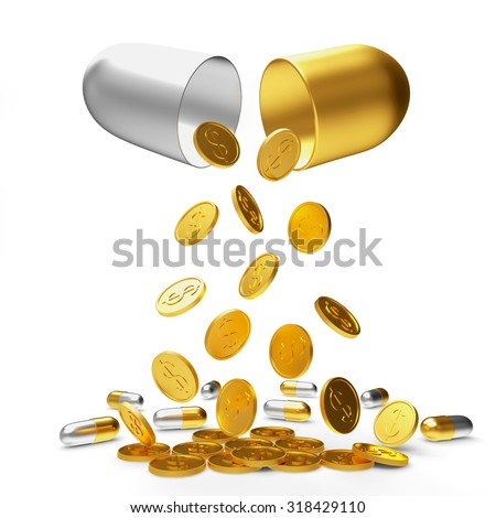 Golden coins and pills falling from an open medical capsule isolated on white background. High costs of expensive medication concept - stock photo