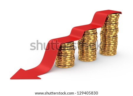 Golden coins and red arrow down on white background - stock photo