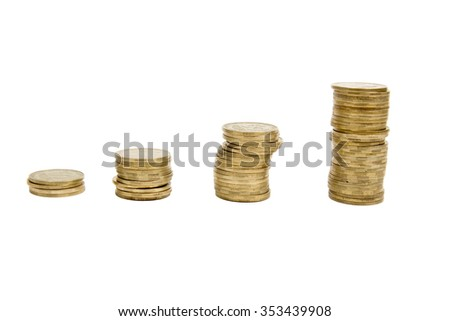 Golden coins arranged as a graph on a white background. Business idea