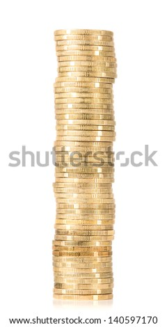 Golden coins arranged in stack, finance concept - stock photo