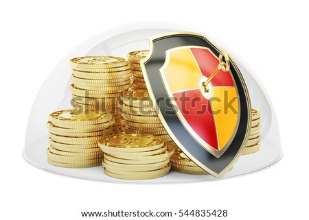 Golden coins covered by glass dome. Security and protection concept, 3D rendering isolated on white background