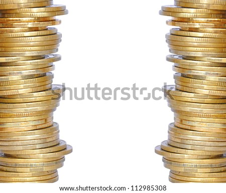 golden coins isolated on white - stock photo
