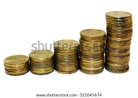 Golden coins isolated on white background.Russian metallic roubles.
