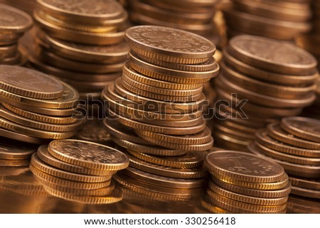 Golden coins macro shot  - stock photo
