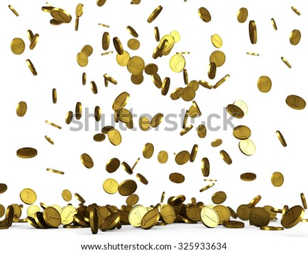 Golden coins rain on white background concept image.