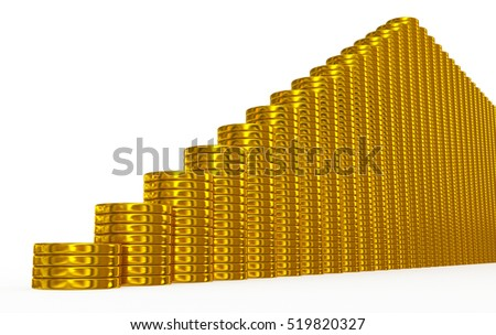 golden coins stairs on white - 3d rendering