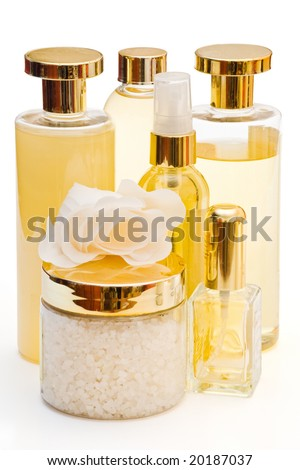golden collection of beauty and hygiene products isolated with clipping path