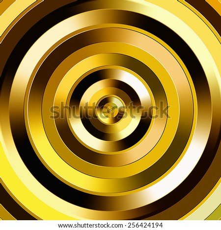 Golden color graduated circles. - stock photo