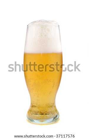 golden colour beer in a glass.