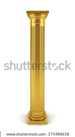 Golden column. 3d illustration on white background - stock photo