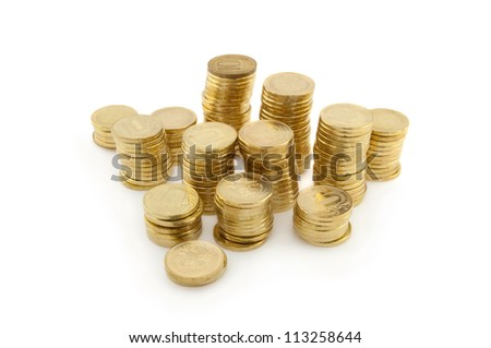 golden columns of coins on white background