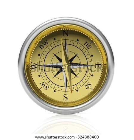 Golden compass detailed dial, isolated on white background. - stock photo