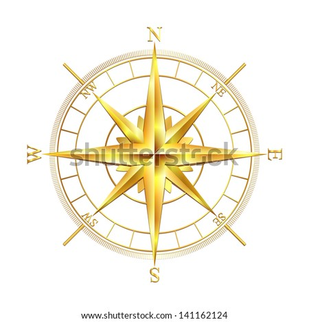 Golden compass rose, isolated on white background.
