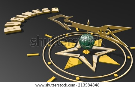 golden compass with saudi arabia flag textured sphere pointing the word business,  image suitable for business concept. 3D render illustration - stock photo