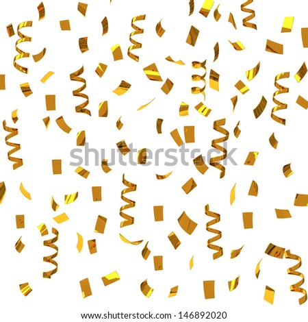 Golden confetti - party streamers, 3d - stock photo