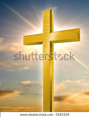 golden cross in front of orange sunset - stock photo